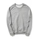Basic Simple Logo Print Hem Crewneck Long Sleeve Regular Fitted Pullover Sweatshirt