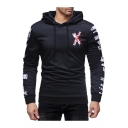 Men's Fashion Unique Fire Letter X Print Long Sleeve Slim Fitted Black Hoodie
