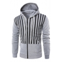 Men's Chic Vertical Striped Print Letter Long Sleeve Zip Up Fitted Drawstring Hoodie