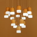 Cylinder Shade Cluster Pendant Light Modern Wood Art Deco Hanging Light for Living Room
