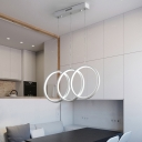 Halo Ring Pendant Light Concise Simple Silicon Gel 3 Light Suspended Light for Bedroom