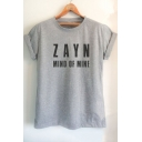 Cotton Letter ZAYN MIND OF MINE Printed Short Sleeve Round Neck Unisex Tee
