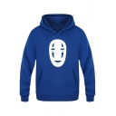 Unique Japanese Animated film Spirited Away No Face Men Printed Kangaroo Pocket Fitted Hoodie