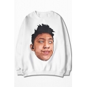 Street Style Funny Figure Printed Round Neck Long Sleeve Oversize Loose Fit Sweatshirt
