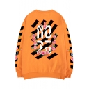Guys Hip Hop Fashion Floral Letter Striped Printed Crew Neck Long Sleeve Oversize Pullover Sweatshirt