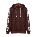 Unique Letter Printed Long Sleeve Regular Fitted Drawstring Hoodie for Guys
