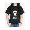 Popular Letter ALIEN PRESS COMICS Alien Print Crewneck Short Sleeve T-Shirt