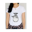 Trendy Lovely Cartoon Totoro Printed Round Neck Short Sleeve Loose Fitted T-Shirt