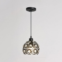 Crystal Pendant Light Modern Fashion Metal 1 Light Decorative Suspension Light in Black