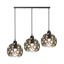 3 Heads Dome Hanging Lamp Modern Chic Crystal Suspension Light in Black for Living Room
