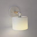 Modern Round Wall Sconce with White Fabric Shade Rotatable 1 Bulb Small Wall Mount Light