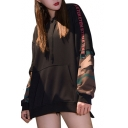 Cool Letter Camo Print Patched Long Sleeve Casual Leisure Cozy Pullover Hoodie