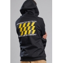 Letter OVERWEIGHT DO NOT TOUCH Check Back Flash Print Front Chunky Casual Cotton Hoodie