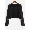 Stylish Cold Shoulder V-Neck Striped Long Sleeve Black Cropped T-Shirt