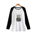 Trendy Cool Cat Letter I HATE PEOPLE Print Round Neck Colorblock Long Sleeve T-Shirt