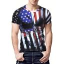 Men's Cool Skull American Flag Printed Round Neck Short Sleeve Slim Fit Black T-Shirt