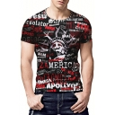 Street Style Cool Letter Graffiti Statue Of Freedom Printed Round Neck Men's Fit Black T-Shirt