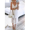 New Trendy Fashion V-Neck Spaghetti Straps Simple Plain Maxi Lace Slip Dress