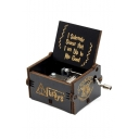Popular Letter I SOLEMNLY SWEAR THAT I AM UP TO NO GOOD Carved Retro Black Hand Cranked Music Box