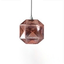 Gem Shade Pendant Light Contemporary Glass Single Light Suspended Lamp in Amber/Blue/Gold