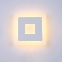 White Finish Square Sconce Light Modernism Acrylic 1 Head LED Wall Mount Light for Corridor