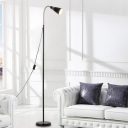 Black Finish Cone Floor Light Simplicity Adjustable Metal Single Light LED Floor Lamp