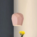 Pink Finish Domed Hanging Lamp Nordic Style Steel 1 Head Decorative Suspended Light for Bedroom