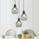 Gourd Ceiling Pendant Lamp Modernism Glass 1 Bulb Decorative Hanging Light in Black Finish