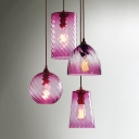 Modernism Geometric Drop Light Purple Fade Glass Single Head Lighting Fixture for Foyer