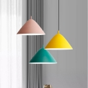 Nordic Style Colorful Cone Drop Light Metal One Light LED Suspension Light for Kids Bedroom