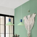 Mint Green Flask Suspended Lamp Modern Fashion Metallic 1 Light Lighting Fixture