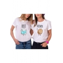 Funny Cartoon Milk Cookie Letter BEST FRIENDS Printed Casual Short Sleeve T-Shirt for Friends