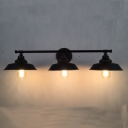 Triple Lights Barn Wall Lamp Industrial Vintage Metal Vanity Light in Black Finish for Bar Counter