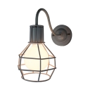 Metal Caged Wall Mount Fixture Nautical Style Decorative Single Head Wall Lamp in White Finish