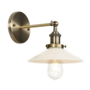 Vintage Railroad Wall Lighting with White Glass Shade Single Light Wall Mount Fixture in Bronze