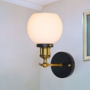 White Glass Ball Wall Mount Fixture Industrial Simple 1 Bulb Wall Light in Brass Finish for Coffee Shop