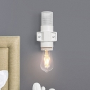 White Open Bulb Wall Light Industrial Modern Metal Single Light Lighting Fixture with Mesh Cage for Bedside