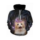 3D Cartoon Cat Galaxy Printed Long Sleeve Black Unisex Loose Sport Hoodie