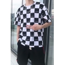 Cool Popular Letter Checkerboard Pattern Half-Sleeved Loose Fit T-Shirt for Guys