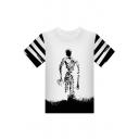 Cool Comic Character Print Striped Short Sleeve Summer Unisex White T-Shirt