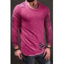 Men's Stylish Cool Ripped Detail Simple Plain Round Neck Long Sleeve Slim T-Shirt