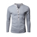 Stylish Patched Button V-Neck Long Sleeve Simple Plain Fitted Henley Shirt