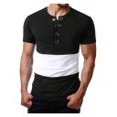 Stylish Colorblock Fashion Grommet Embellished Front Short Sleeve Slim Fit T-Shirt for Men