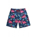 Men's Stylish Summer Flamingo Leaf Printed Drawstring Waist Quick Dry Blue Swim Trunks with Liner
