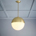 Opal Glass Ball Suspended Light Modern Elegant LED Ceiling Lamp in Brass for Study Room