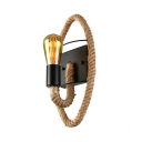 Industrial 1 Light Natural Rope Wall Sconce in Black Color