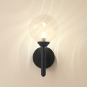 Textured Glass Orb Shade Sconce Light Modern Fashion 1 Light LED Wall Mount Light in Black