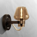 Concise Modern Mushroom Wall Sconce Cognac Glass 1 Head Lighting Fixture in Black for Bedroom