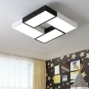 Block Style LED Flush Light Fixture Modern Chic Black and White Metallic Ceiling Lamp for Living Room