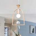 Wooden Loop 1 Head Hanging Light with Pigeon Decoration White Art Deco LED Drop Light for Porch